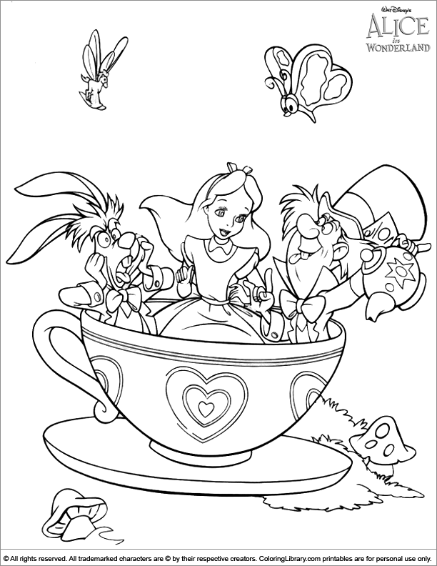 Free coloring pages of mad hatters tea