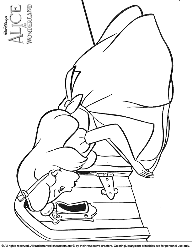 Alice in Wonderland free coloring page