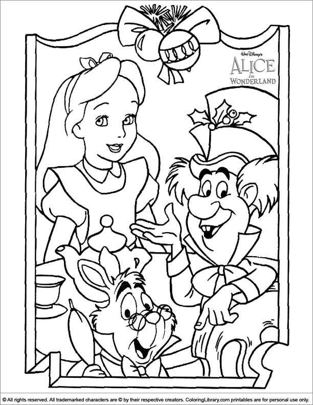 Alice in Wonderland coloring book page for kids