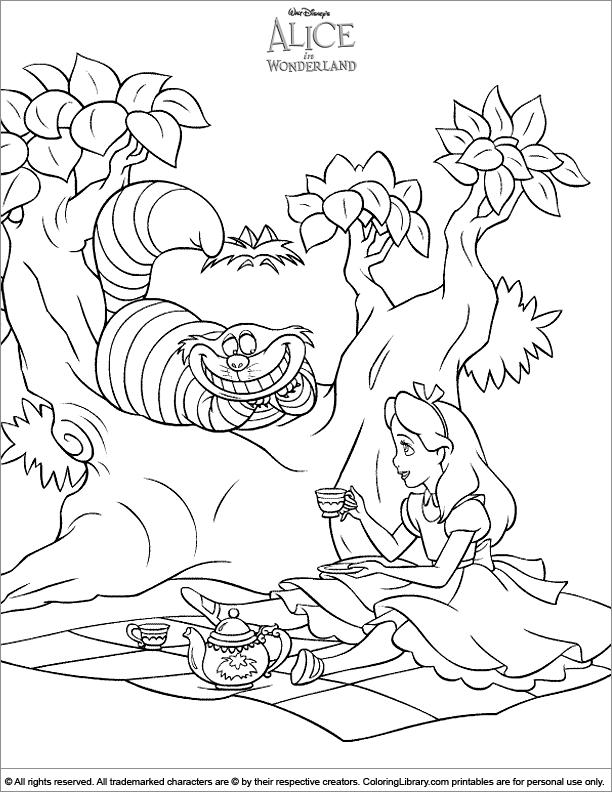 Alice in Wonderland coloring sheets for kids