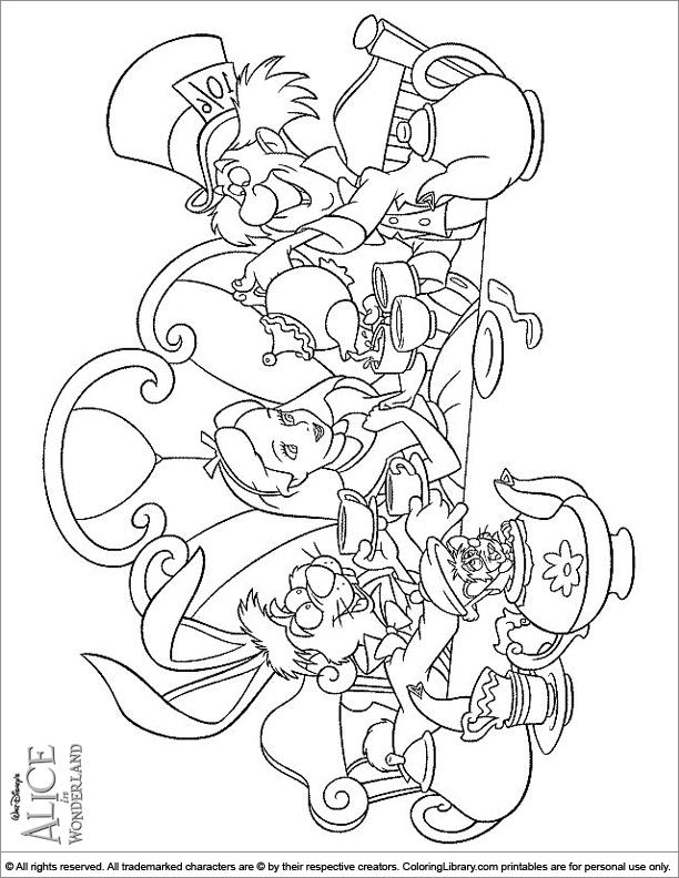 Alice in Wonderland free coloring sheet