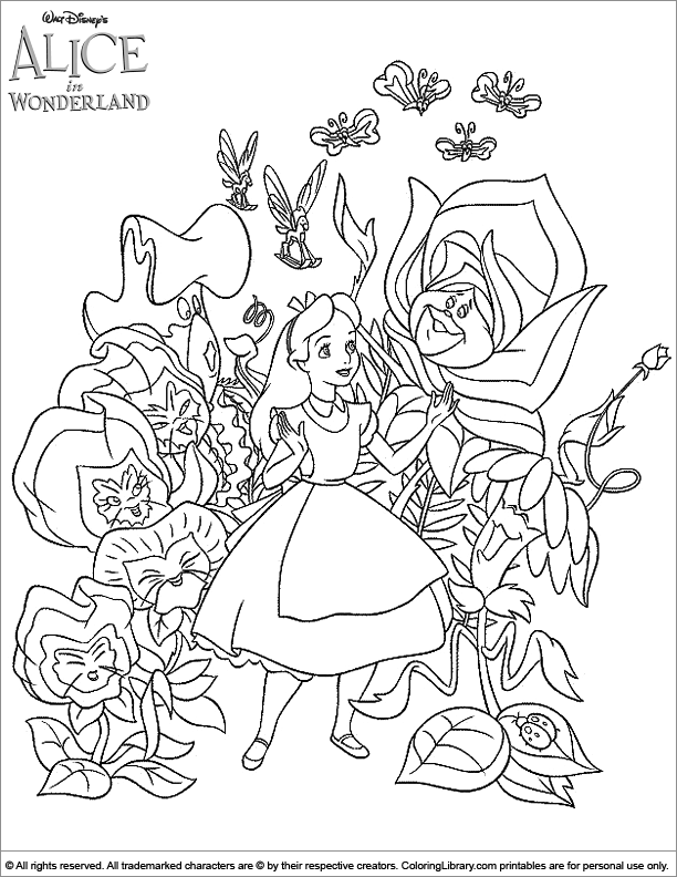 Fun Alice in Wonderland coloring sheet