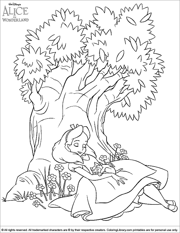 Alice in Wonderland coloring picture