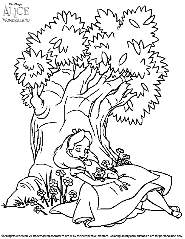 Alice in Wonderland free printable coloring page