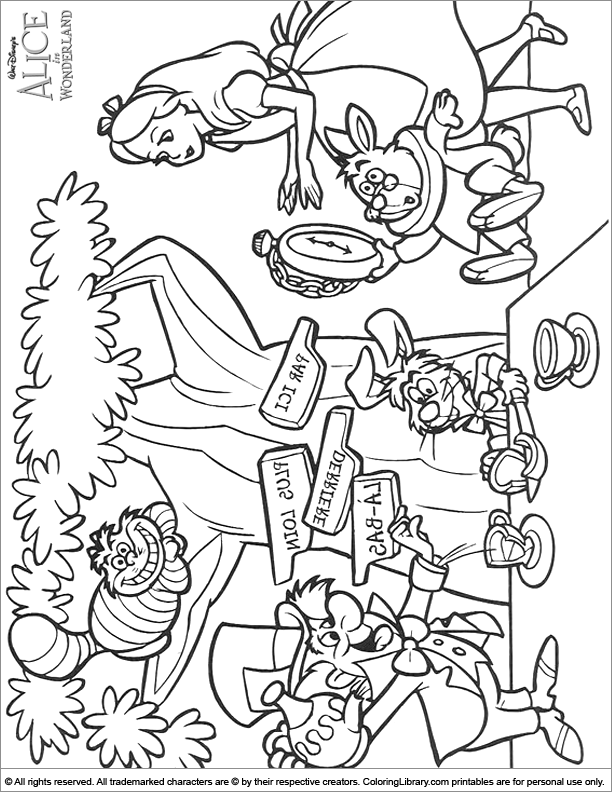 Alice in Wonderland free online coloring page