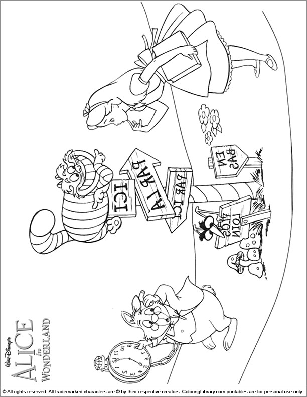 Alice in Wonderland printable coloring picture