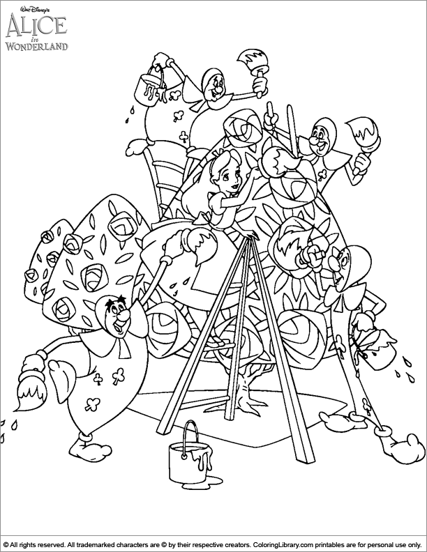 Alice in Wonderland free coloring