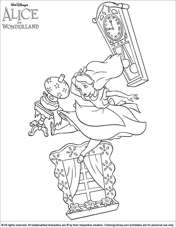 Alice in Wonderland free coloring picture