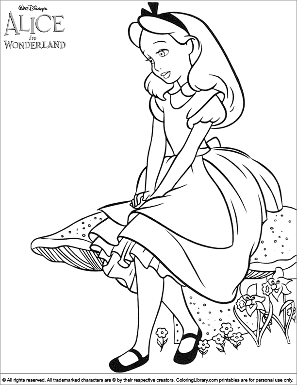 Alice in Wonderland cool coloring