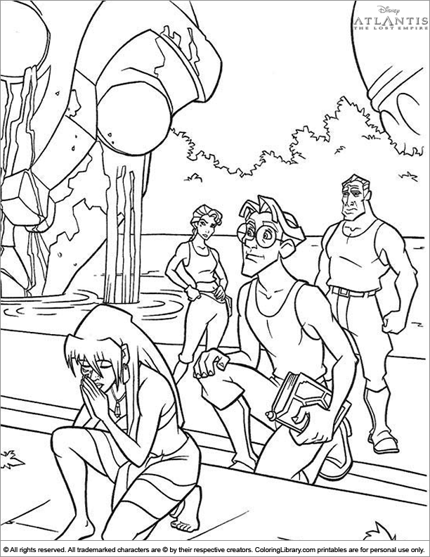 Atlantis The Lost Empire free coloring sheet