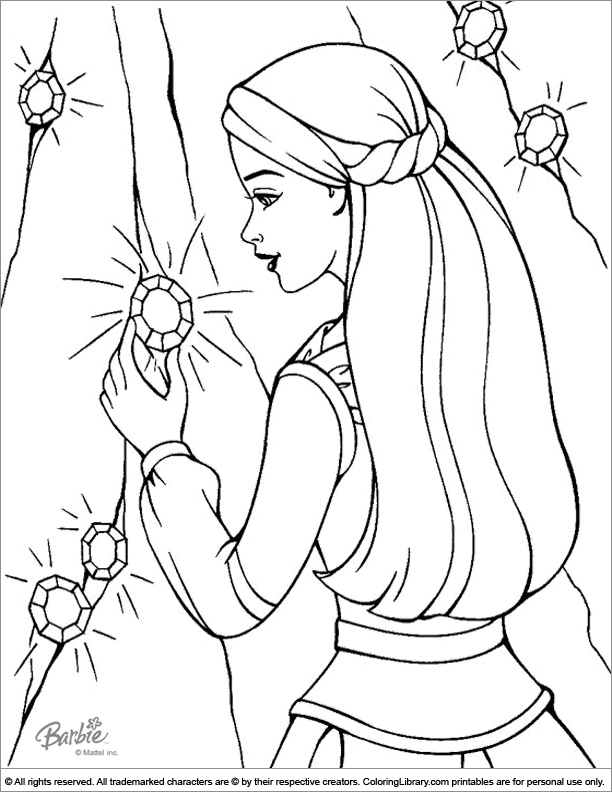 Barbie Coloring Page For Kids - Coloring Library