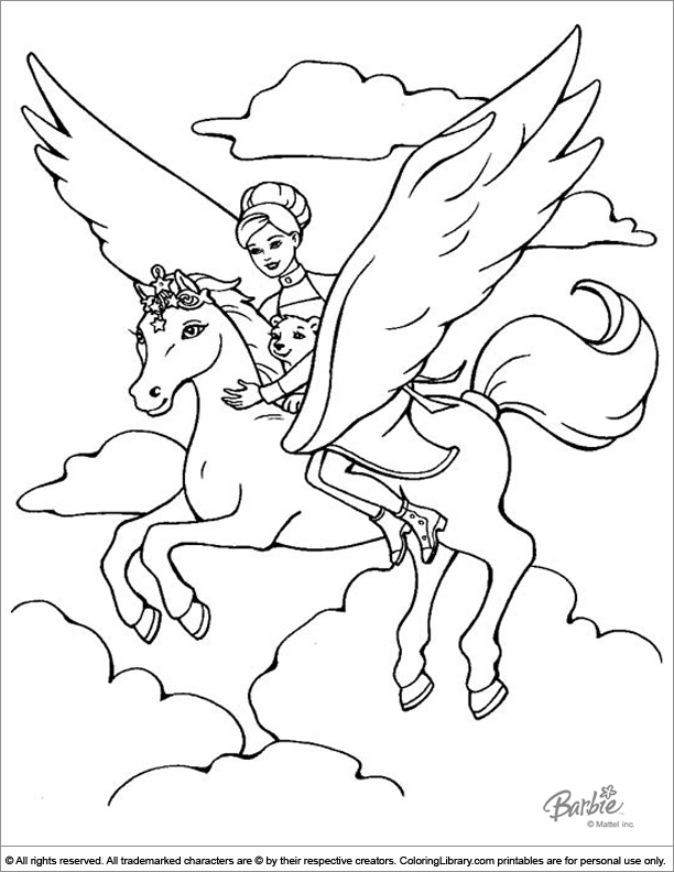 Barbie colouring page