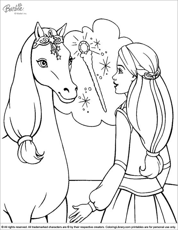 Barbie free coloring page
