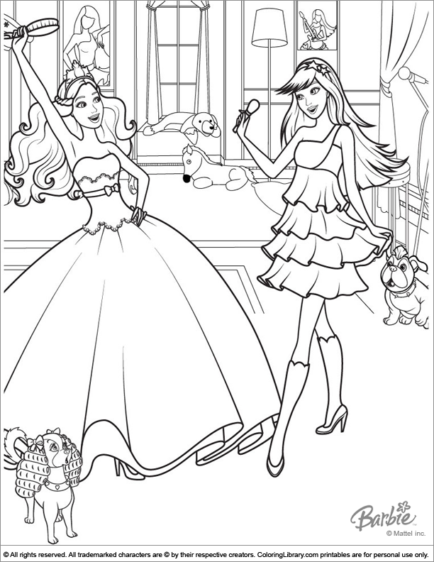 Barbie coloring page for kids to print