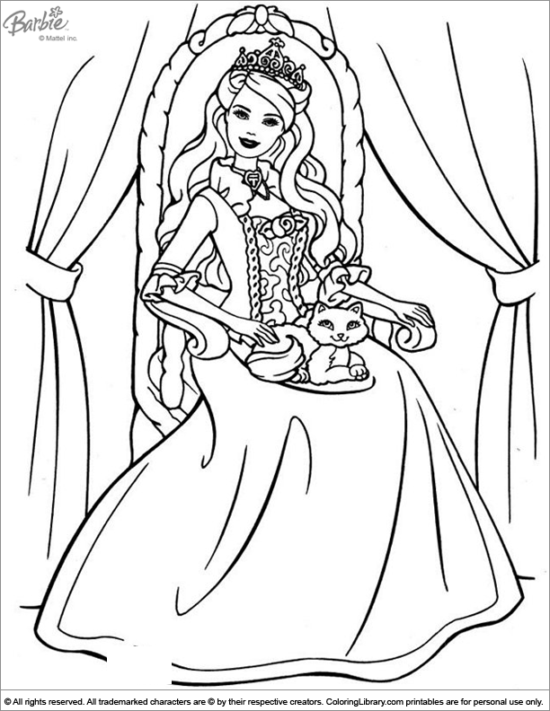 Barbie coloring pictures for kids