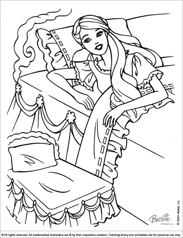 Barbie free coloring sheet