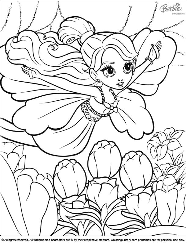 Barbie free coloring page for children