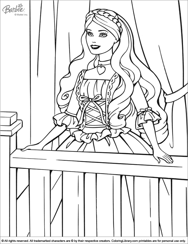 Barbie fun coloring sheet