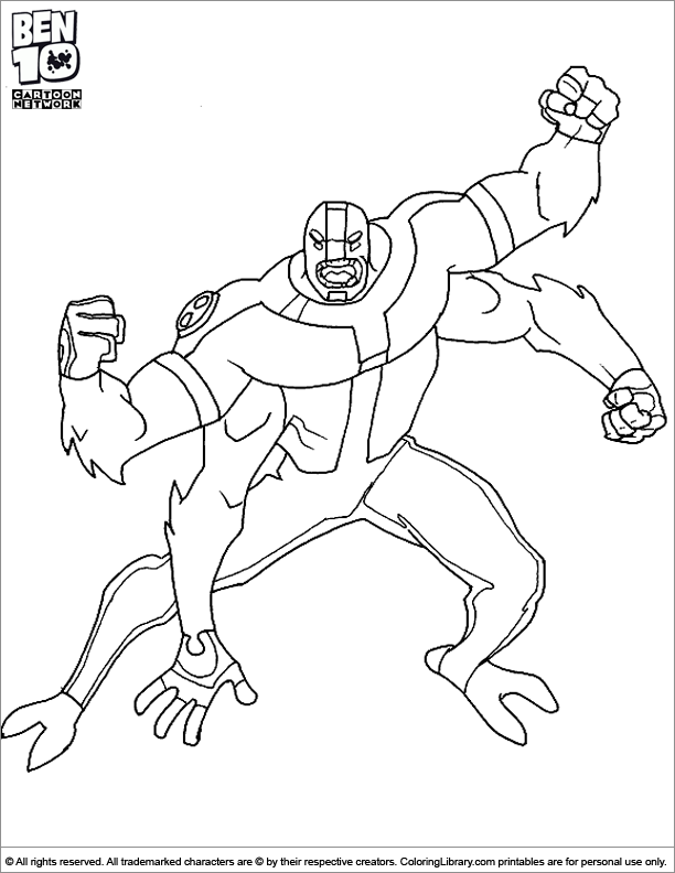 Ben 10 coloring printable for kids