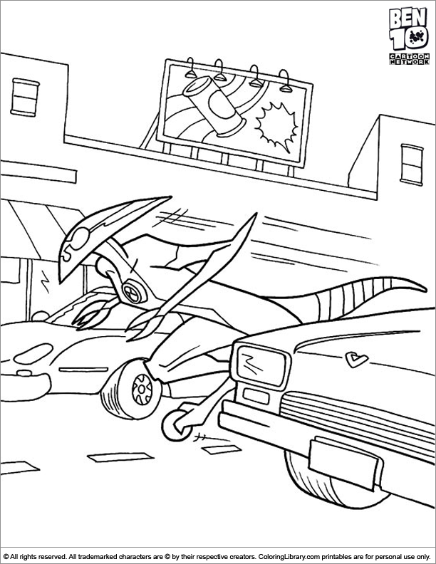 Fun Ben 10 coloring sheet