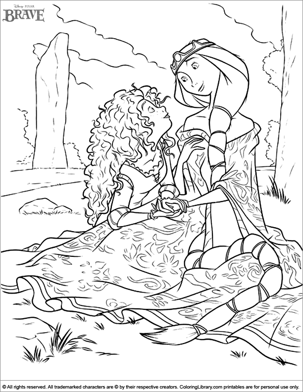 Brave printable coloring page