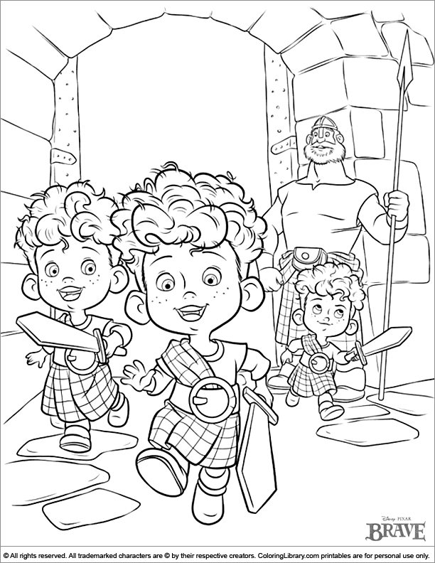 Brave coloring book page