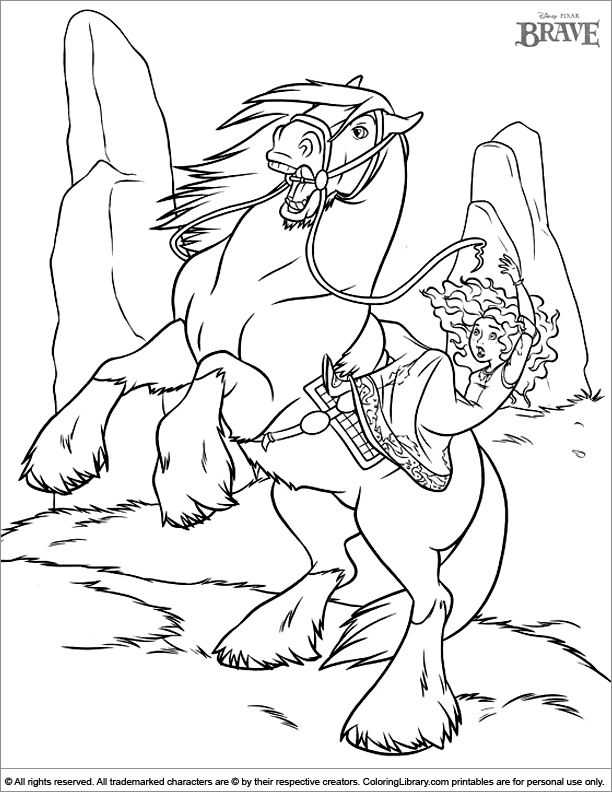 Brave colouring sheet for kids