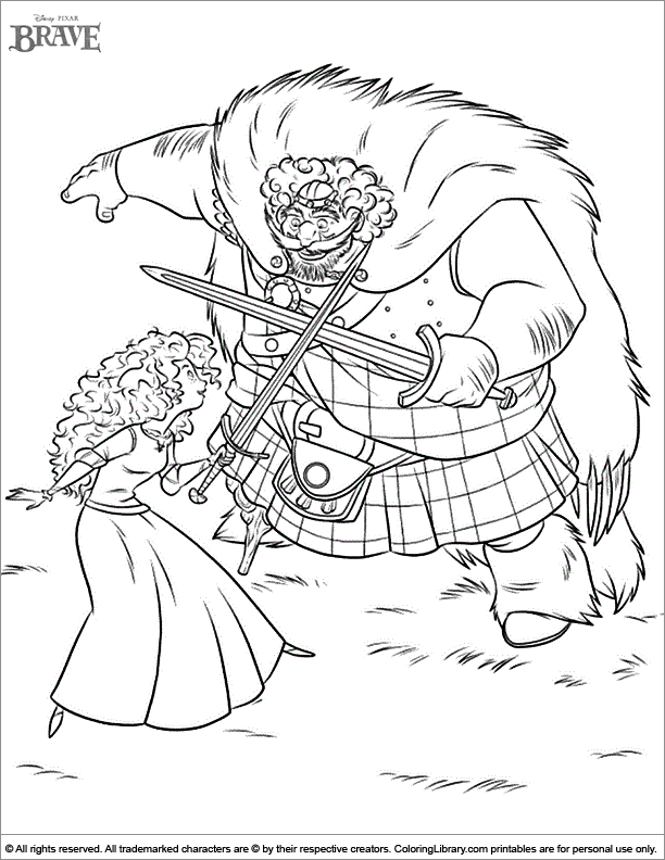 Brave free coloring page
