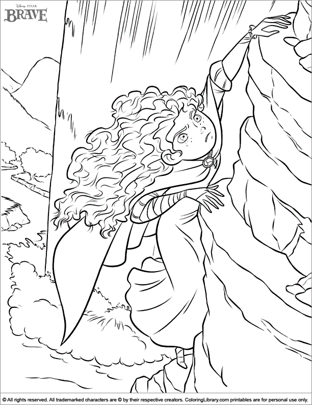 Brave coloring book page for kids