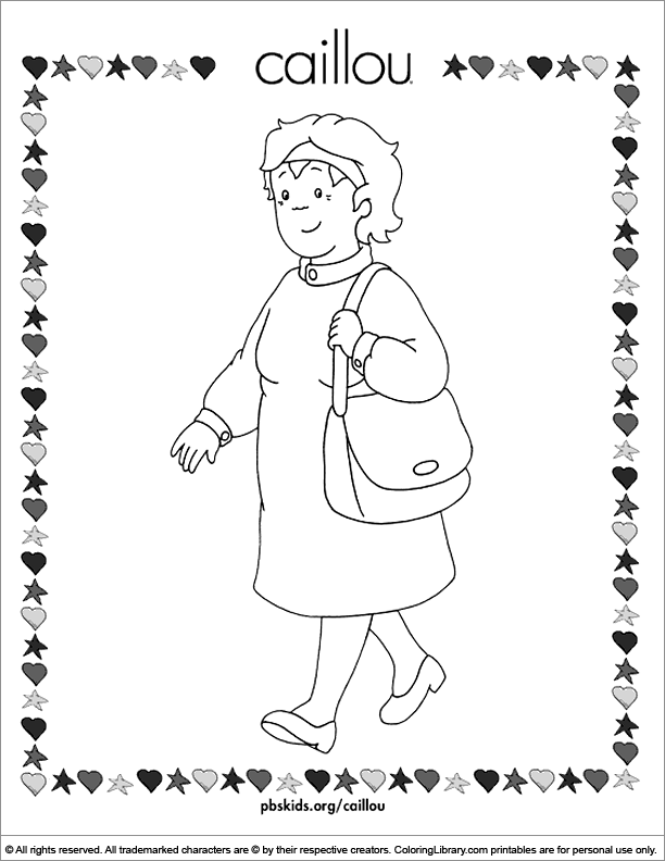 Caillou coloring book page for kids