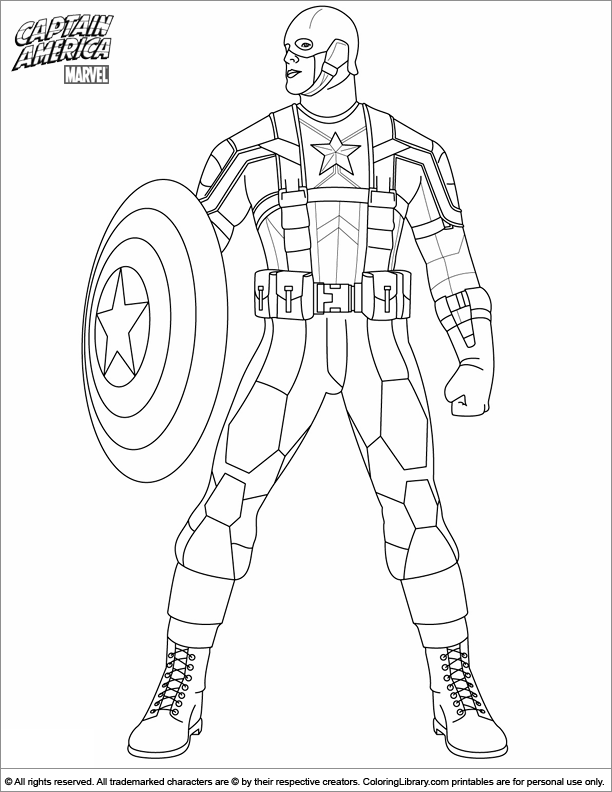 Captain America coloring for kids