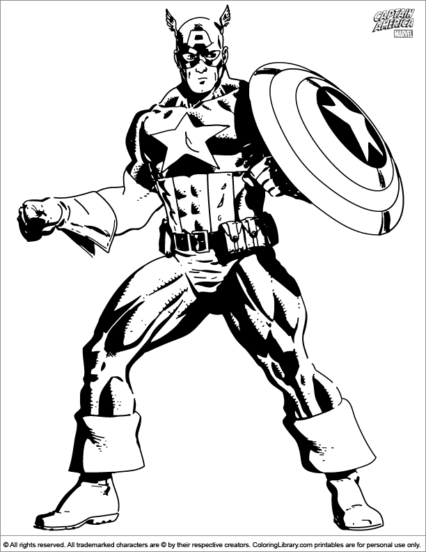 Fun Captain America coloring page