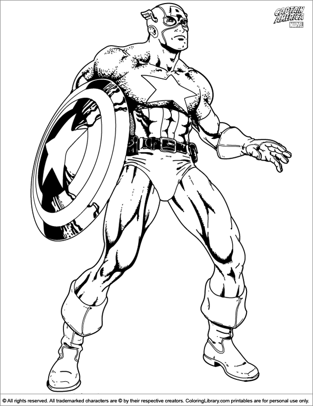 Captain America Coloring Book Page - Coloring Library