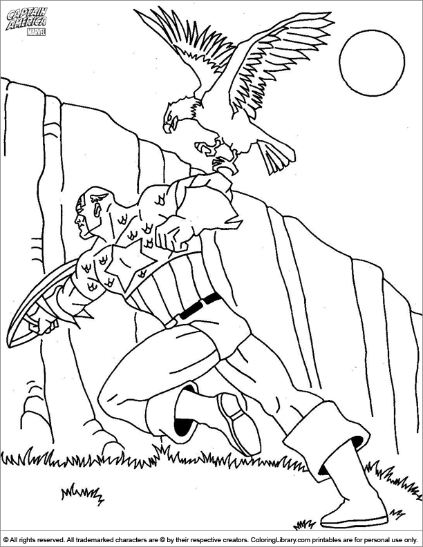 Captain America free printable coloring page