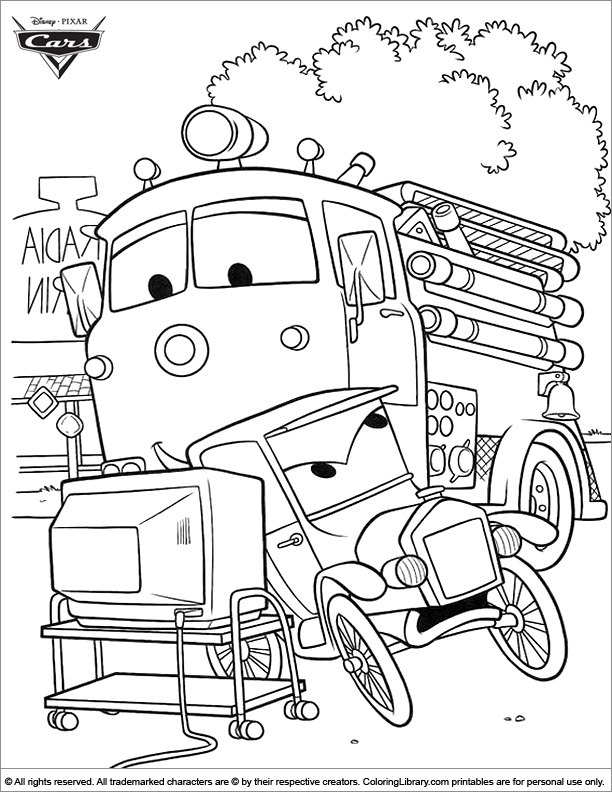 Cars printable coloring page