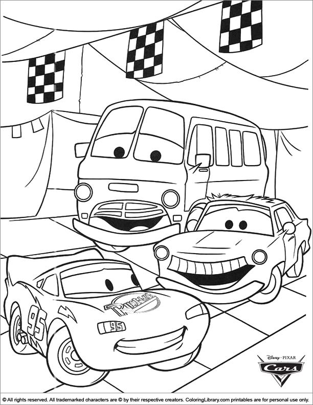 Cars free coloring printable