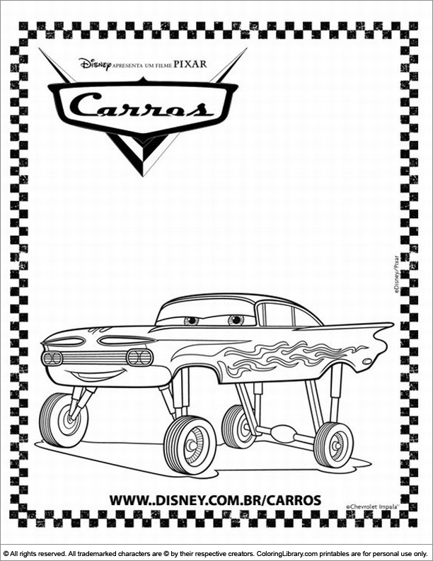 Cars colouring sheet for children