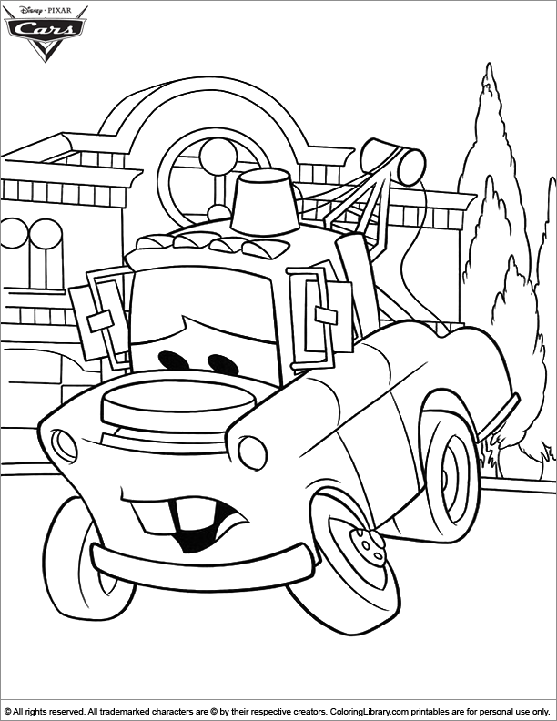 Cars coloring book page