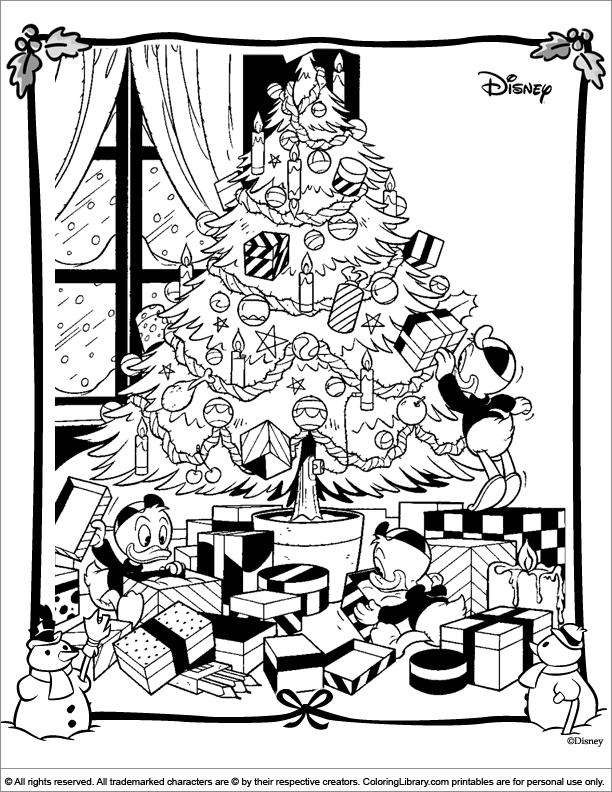 Christmas Disney coloring book page for kids