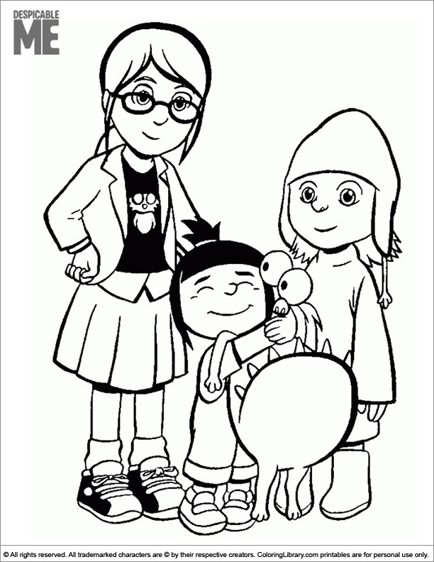 Despicable Me printable coloring page for kids