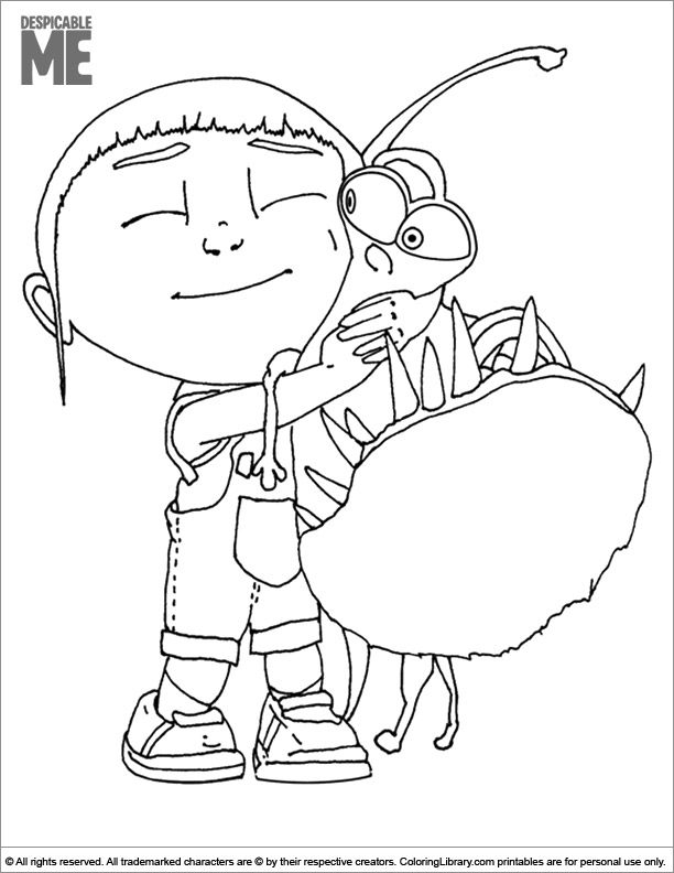 Despicable Me colouring sheet for kids