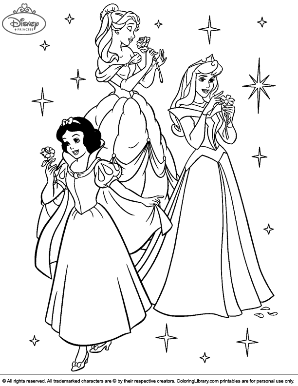 Disney Princesses coloring for kids