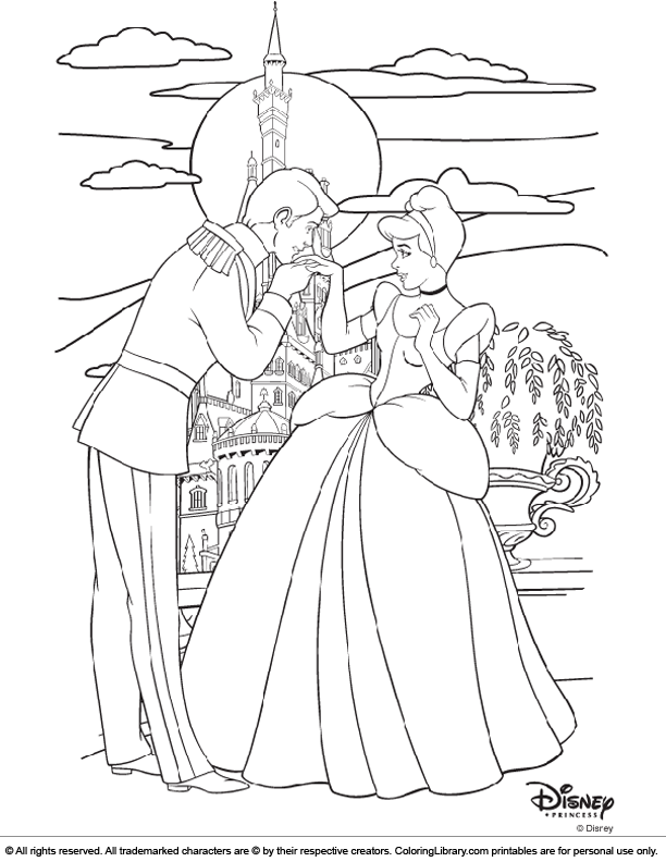 Disney Princesses colouring sheet