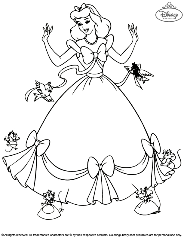 Disney Princesses coloring page for kids to print