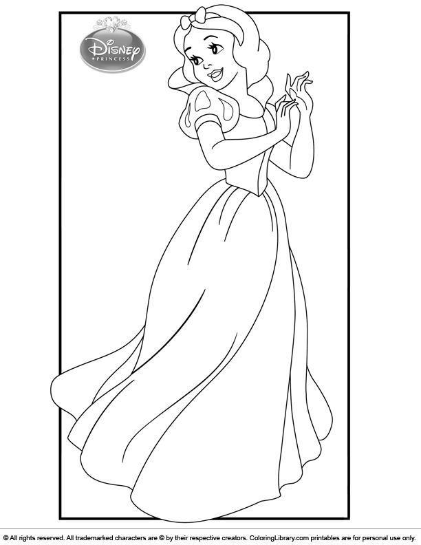 Disney Princesses free online coloring page