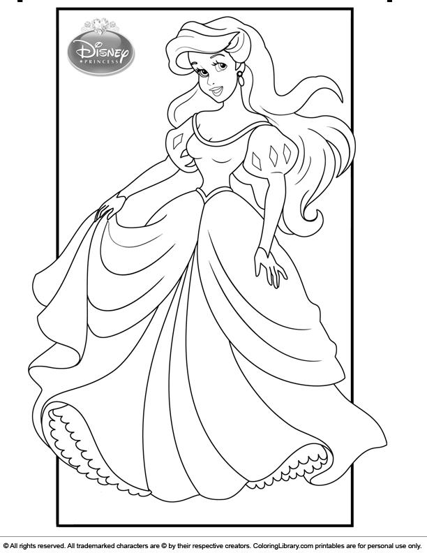 Disney Princesses free coloring picture