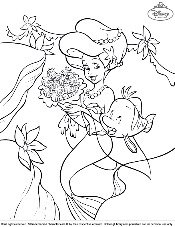 Disney Princesses free coloring page for children