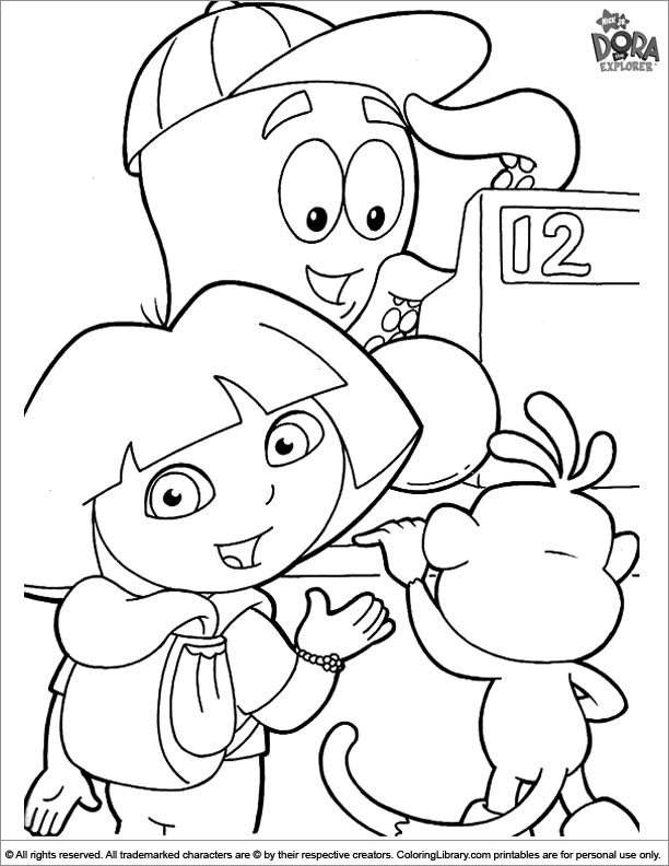 Dora the Explorer coloring book page