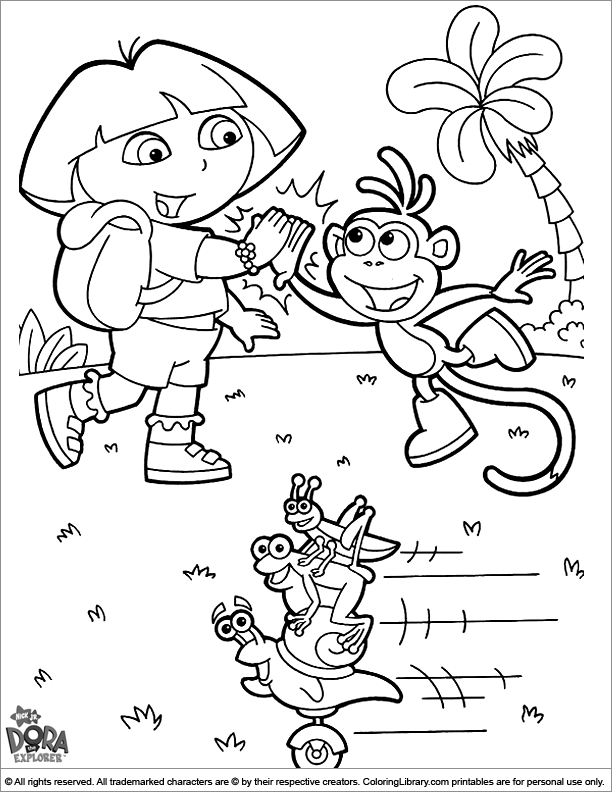 Dora the Explorer color book page