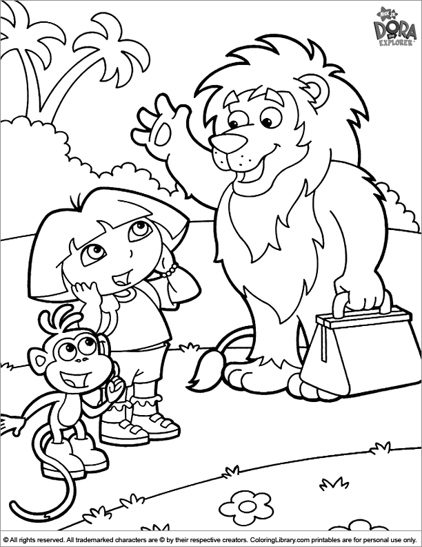 Dora the Explorer coloring printable for kids